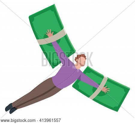 Conceptual Illustration For Financial Freedom, Depicting Man Flying On Wings Made Of Currency Bills.