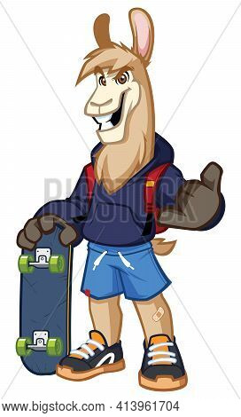 Mascot Illustration With Cool Llama Skater Character On White Background.