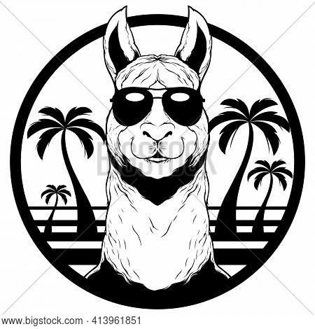 Black And White Mascot Or Logo With Llama Wearing Sunglasses During Sunny Summer Day.