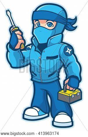 Mascot With Cartoon Ninja Repairman Ready To Help.