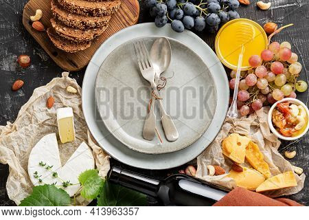 Empty Serving Plate With Fork Spoon In Frame Of Food Ingredients Gastronomy Appetizer Snacks Honey G