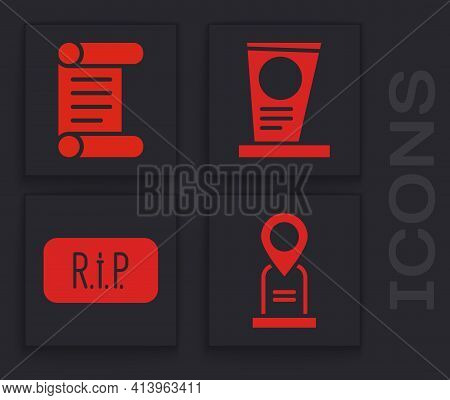 Set Location Grave, Decree, Parchment, Scroll, Grave With Tombstone And Speech Bubble Rip Death Icon