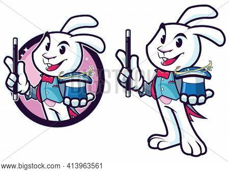 Mascot With Cartoon Rabbit Magician Performing Magic Trick.