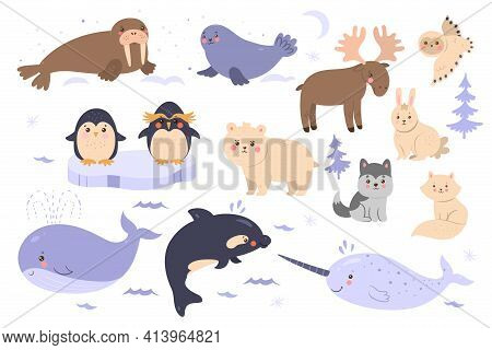 Set Of Cute Animals Of The Arctic And Antarctic Isolated On White Background. Vector Image.