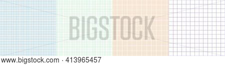 Grid Paper Set. Abstract Squared Background With Color Graph. Geometric Pattern For School, Wallpape