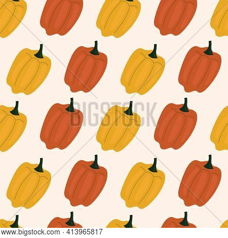 Simple Seamless Pattern With Bell Pepper, Paprika. Vegetables, Vitamins, Vegetarianism, Healthy Eati