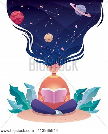 Flat Design Illustration Of A Young Woman Reading A Book About Astrology Or Astronomy.