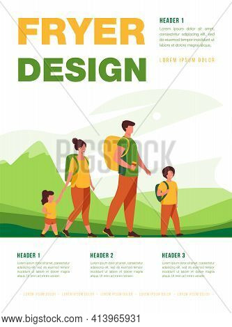 Happy Active Family Walking Outdoors. Couple Of Tourists With Children Hiking, Carrying Camping Back