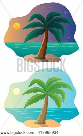 Cartoon Landscape With Small Tropical Island In 2 Color Versions.