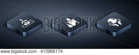 Set Isometric Wind Turbine, Hands Holding Earth Globe And Full Dustbin Icon. Vector