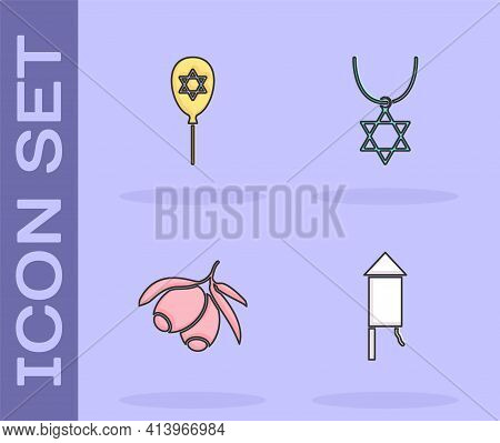 Set Firework Rocket, Balloon With Star Of David, Olives Branch And Star David Necklace Chain Icon. V