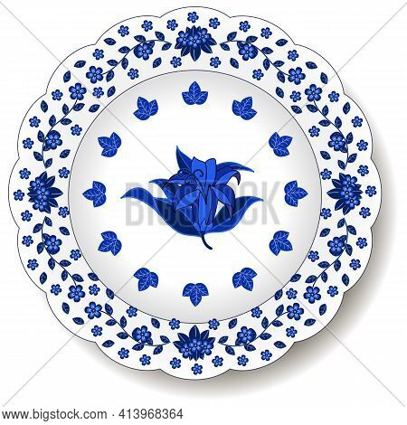 Porcelain Plate With Blue On White Abstract Floral Ornament In Oriental Chinese Design Style. Tradit