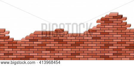 Brick Wall Broken, 3d View. Red Brick Texturel  Seamless Pattern For Cartoon Or Game Background Of