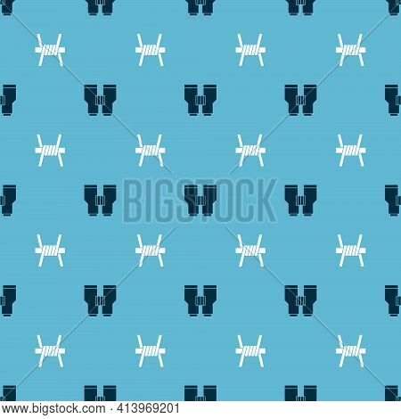 Set Binoculars And Barbed Wire On Seamless Pattern. Vector