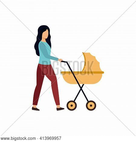 A Young Woman Walks With A Stroller. The Mother And The Child. Pregnancy, Childbirth, Motherhood. Ve