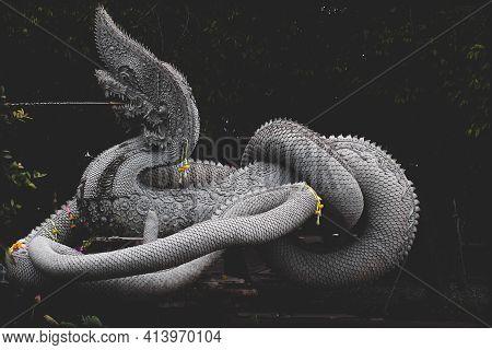 Sculpture Of Dragon Or Serpent Or Naga Legendary Animal Of Thailand At  Wat Kham Chanod 2 In Thailan