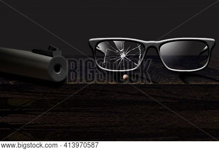 A Bb Gun Barrel Is Seen Next To Eyeglasses Shattered By A Bb That Lies In Front Of The Glasses In Th