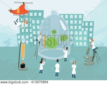 Vector Illustration, Group Of Doctors Study And Explore Covid-19. Searching For Remedy And Vaccine.