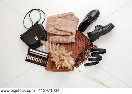 Fashion Basic Female Folded Clothes Set In Beige Brown Colour Outfit. Cloth Shoes Casual Style, Knit