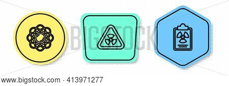 Set Line Atom, Triangle With Radiation And Radiation Warning Document. Colored Shapes. Vector
