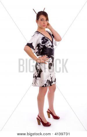 Full Body Pose Of Japanese Woman
