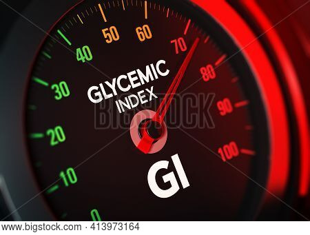 3d Illustration Of A Conceptual Gi Counter That Measures Glycemic Index On A Scale From 0 To 100.