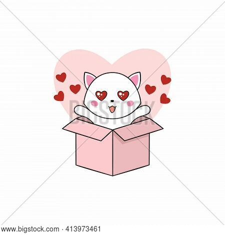 Cute Kitten In A Box. A Kitten With A Heart. Vector Illustration For The Holiday Of All Lovers. Vale
