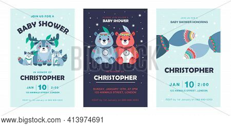 Trendy Party Invitation Designs With Funny Tribal Animals. Stylish Birthday Invitations With Deer, R
