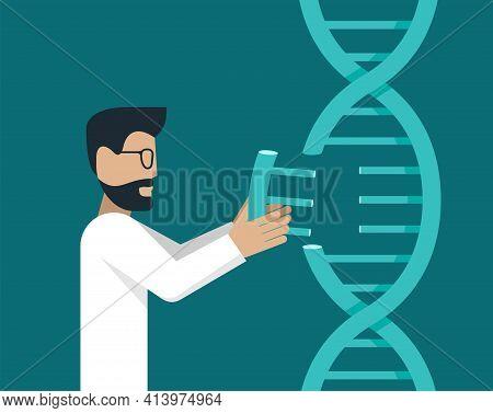 Crispr Cas9 Illustration. Biochemical Genetic Engineering, Gene Mutation Research - Dna Modification