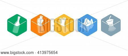 Waste Sorting, Litter Separation Icons Set - Dumpster Marking Stickers With Hand And Garbadge - Glas