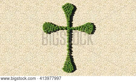 Concept or conceptual group of green forest tree on dry ground background as sign of religious christian cross. A 3d illustration metaphor for God, Christ, religion, spirituality, prayer, Jesus belief