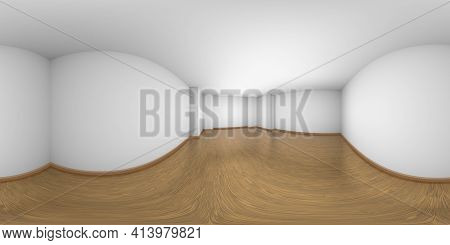 Empty White Room With Walls, Brown Hardwood Parquet Floor And Soft Light, Hdri Environment Map, Whit