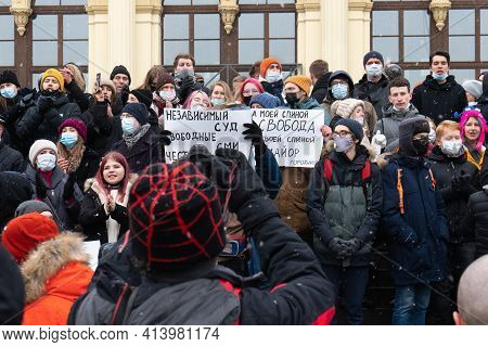 Moscow, Russia - January 31, 2021: Protesters With Handwritten Posters On The Political Rally In Sup