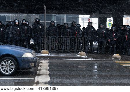 Moscow, Russia - January 31, 2021: Police Officers Stand In A Cordon On Unauthorized Political Rally
