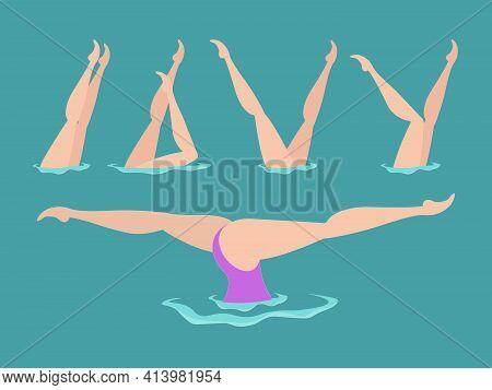 Synchronized Swimming Flat Vector Illustration. Woman Athlete On The Performance Of Synchronized Swi
