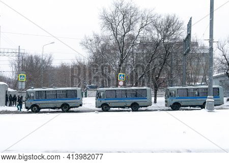Moscow, Russia - January 31, 2021: Old-fashioned Russian Prisoner Transport Vehicles Standing On The