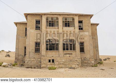 Kolmanskop. Namibia  - January 8.2021: The Quatiermeister House At German Kolmanskop - Kolmannskuppe