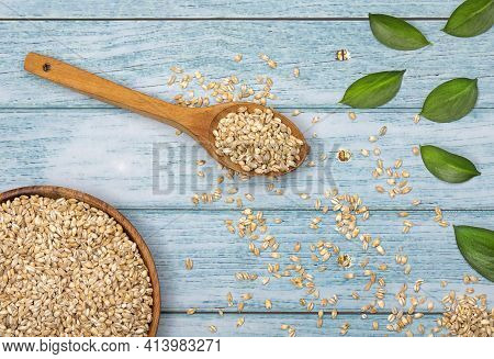 Hordeum Vulgare - Raw Organic Pearl Barley. Text Space