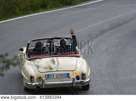 Mercedes-benz 190 Sl 1956 On An Old Racing Car In Rally Mille Miglia 2020 The Famous Italian Histori