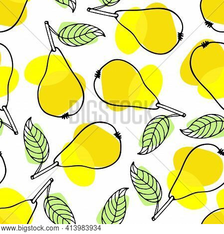 Seamless Pattern Of Pear Fruit With Leaf. Hand Drawn Sketch Isolated On Bright Yellow And Green Spot