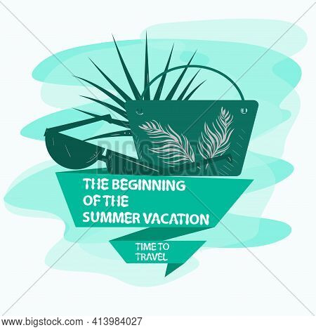 The Icon Is A Sticker For Making A Design On The Theme Of Vacation Vacation And Travel, Sunglasses W