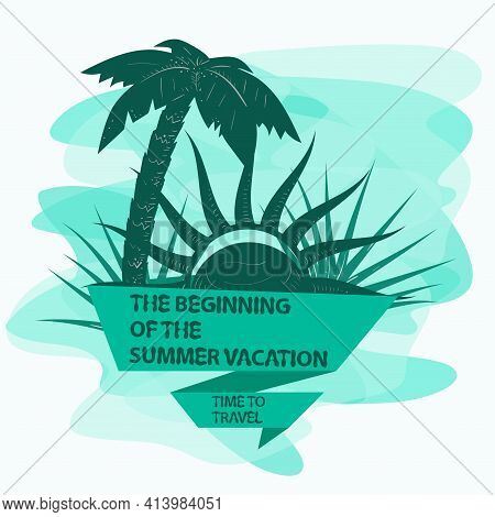 Icon Sticker For Design Design On The Theme Of Vacation Vacation And Travel, Tree Palm Tree And Sun,