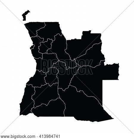 Angola Country Map Vector With Regional Areas