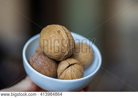 A Few Whole Walnuts In A Round-shaped Brown Shell Lie In A Small White Platter In Man's Hand On A Bl