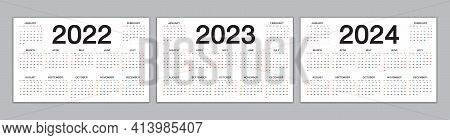 Calendar 2022, 2023, 2024 Year Template, Simple Calendar, Desk Calendar Design, Wall Calendar, Week
