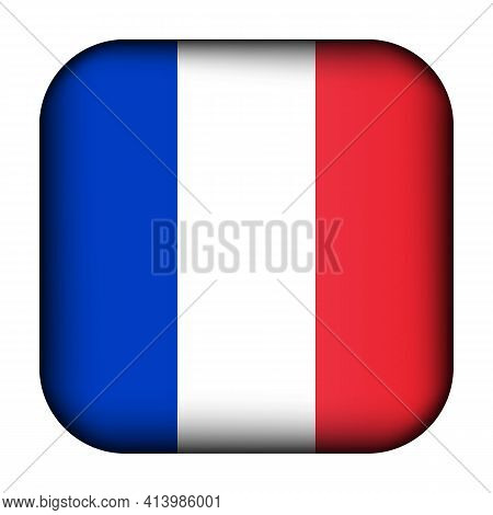 Glass Light Ball With Flag Of France. Squared Template Icon. French National Symbol. Glossy Realisti