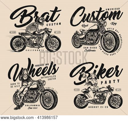 Custom Motorcycle Vintage Designs Set With Attractive Motorcyclist Girl Biker Party Skeleton Moto Ri