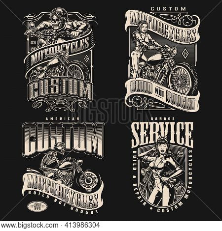 Motorcycle Vintage Labels With Skeleton Motorcyclists In Helmet And Goggles Riding Motorbikes Pretty