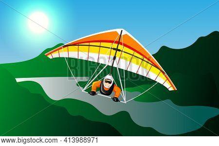 Microlight Aircraft. Man On A Hang Glider. Vector Illustration Eps10