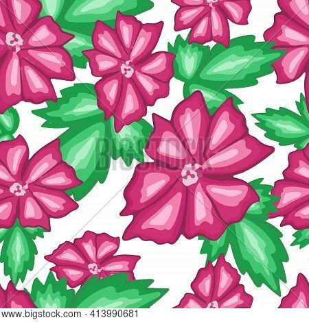 Seamless Repeating Pattern With Pink Flowers. Large Bright Flowers On A White Background. A Repeatin